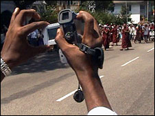 A VJ films monks protesting in Burma in September 2007 (Image: Magic Hour Films)