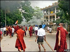 Monks protest in Rangoon on 26 September 2007 (Image: Democratic Voice of Burma via AFP)