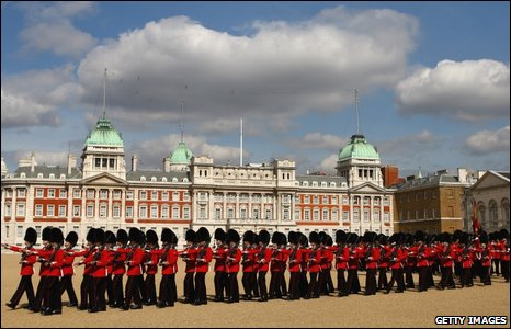 Soldiers leave Horse Guards Parade