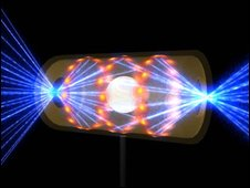 Artist's impression of laser fusion  (Lawrence Livermore National Security, LLC, Lawrence Livermore National Laboratory, and the Department of Energy)