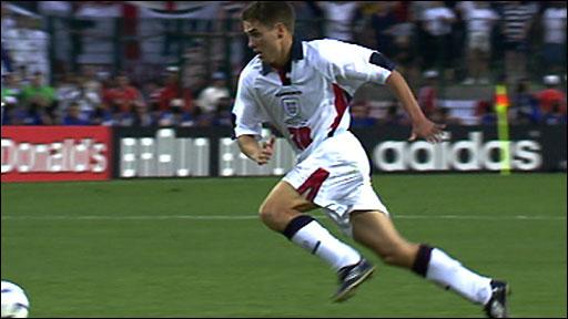 Michael Owen scores for England