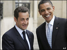 French President Nicholas Sarkozy and Barack Obama, 25 July 2008 (File picture)