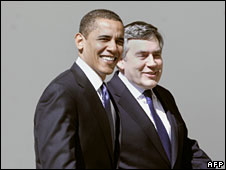Barack Obama and Gordon Brown, 3 March 2009 (File picture)