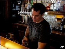 A bar tender in Salt Lake City, 18 March 2009
