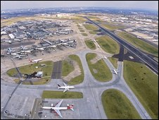 Areil view of Heathrow Airport runway
