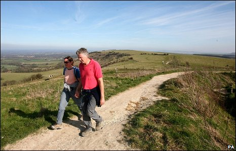 Walkers at Ditchling Beacon