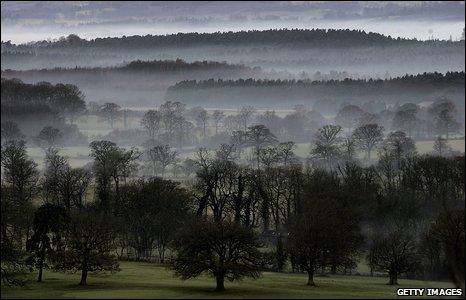December mist in the valleys of the Sussex countryside