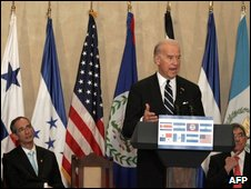 US Vice President Joe Biden speaking in Costa Rica