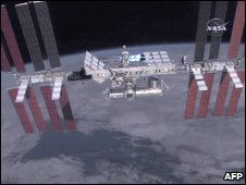 Nasa videograb of the International Space Station, 25 March 2009