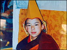 A picture of China's Panchen Lama when he was a young boy
