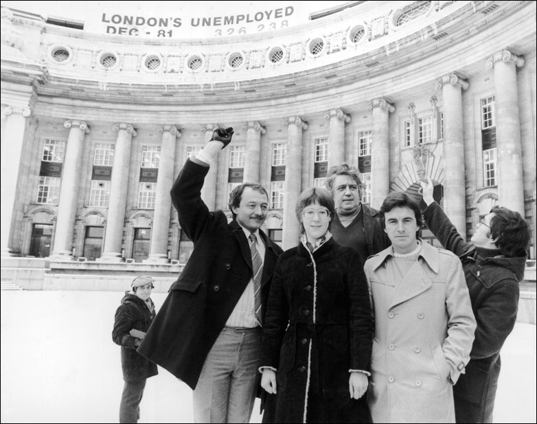 Greater London Council leader Ken Livingstone and colleagues