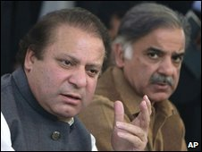 Nawaz Sharif, left, and Shahbaz Sharif in Lahore, Feb 2008