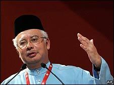 Najib Razak at the Umno general assembly in Kuala Lumpur (March 2009)