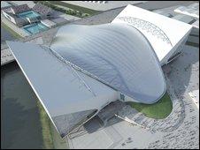 Artist's impression of the roof of the Aquatics Centre