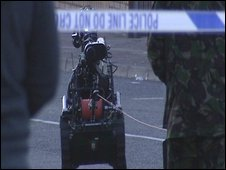 The Army bomb squad at the scene of the alert on Whiterock Road
