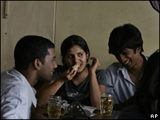 Young Indians in a pub