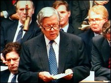 Sir Geoffrey Howe delivering his resignation speech in 1990