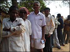 Voters queue in India