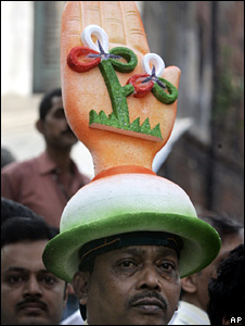 A political party supporter in India