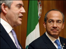 UK PM Gordon Brown with Mexican President Felipe Calderon