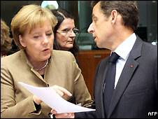 German Chancellor Angela Merkel with French President Nicolas Sarkozy