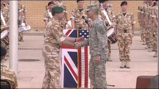 Britain&amp;apos;s Maj Gen Andy Salmon and US Major General Michael Oates