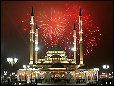 Fireworks explode over the Akhmad Kadyrov mosque in Grozny, Chechnya late on March 9, 2009.