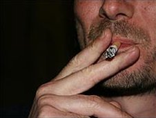 Man smoking cigarette, file pic