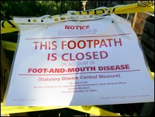 A foot-and-mouth sign