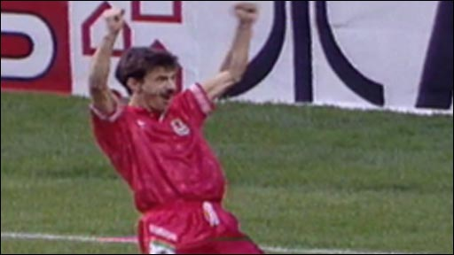 Ian Rush celebrates his winner over West Germany