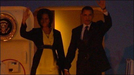 Obama arrival in London