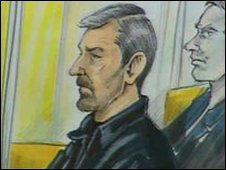 Gerald Gallant (bearded) in court (artist's sketch of an undated hearing from the CBC website)