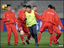 North Korea football team training, Mar 09