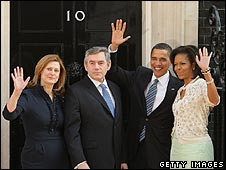 The Browns and Obamas in Downing Street