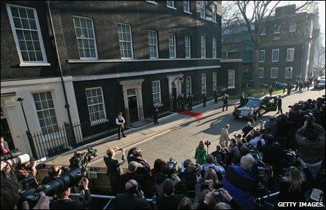 U.S. President Barack Obama arrives in Downing Street on April 1, 2009