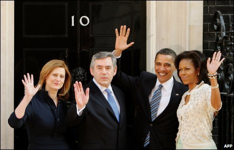 US President Barack Obama (second right) and wife Michelle (right) at 10 Downing Street in London where they were greeted by Prime Minister, Gordon Brown, and wife Sarah