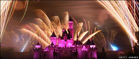 Fireworks over Disney castle