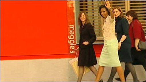 Michelle Obama and Sarah Brown visit Charing Cross hospital