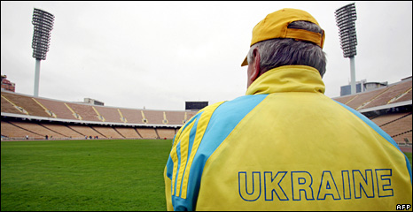 Ukraine football official looks at Olimpiyskiy Stadium (file)