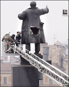 Damaged statue of Lenin in St Petersburg