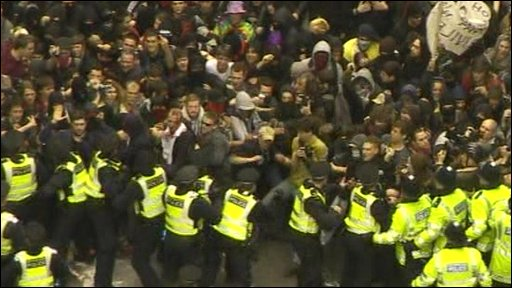 Police and protesters outside the Bank of England