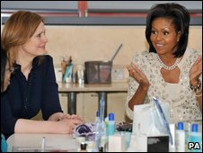 Michelle Obama (R) and Sarah Brown on 1 April 2009