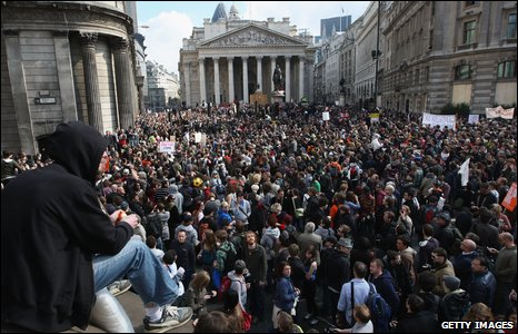 Mass protest at the Bank of England