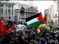 Protestas frente al Banco de Inglaterra