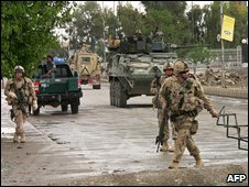 Nato soldiers outside the provincial council offices in Kandahar