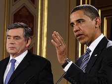 Gordon Brown and Barack Obama speak at their joint press conference