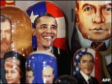 Traditional Russian nesting dolls with the images of US President Barack Obama and Russian President Dmitry Medvedev on display in Moscow on Monday