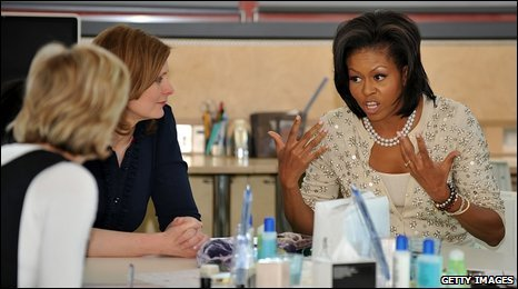 Sarah Brown and Michelle Obama at Maggie's centre, central London