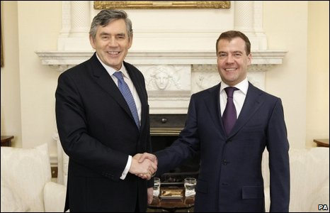 Gordon Brown and Dmitry Medvedev
