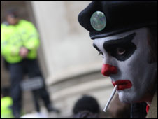 Paul Curtis took this photo of a protester in Leadenhall Street